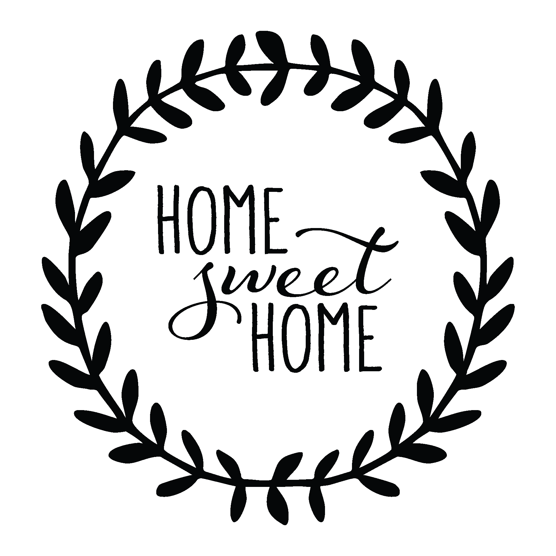 Home sweet home sign png. Women and leaves wall