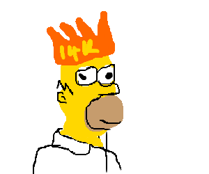 Homer drawing face. Simpson with a gold