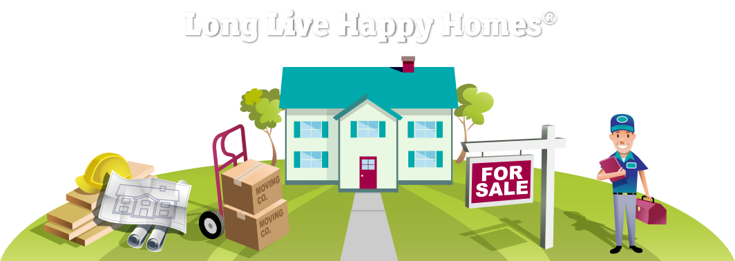 Homes vector happy family. Structural and home warranty