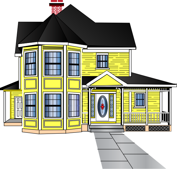 Cottage vector home. Little yellow house clip