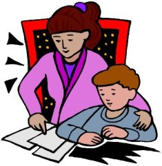 Parents helping with . Homework clipart royalty free