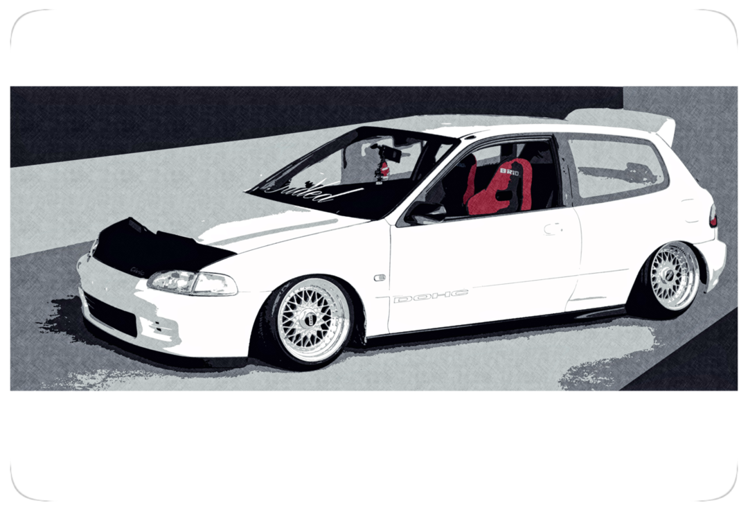 Honda drawing civic hatchback. Print by calebws