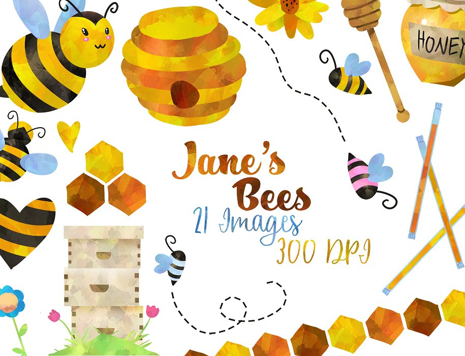 Honey clipart honey bee. Watercolor illustrations creative market