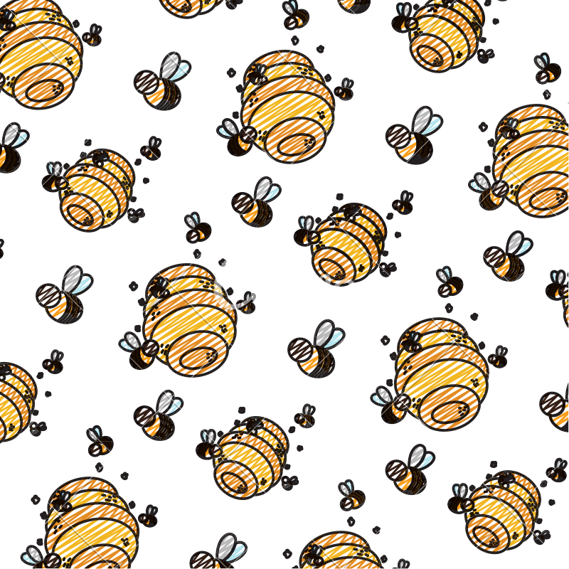 Honeycomb clipart bee fly. Doodle with bees insects