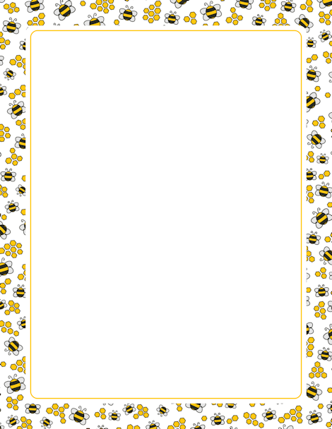 Honeycomb clipart border. A page with bees