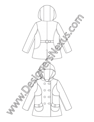 Hooded drawing detailed. Double breasted pea coat