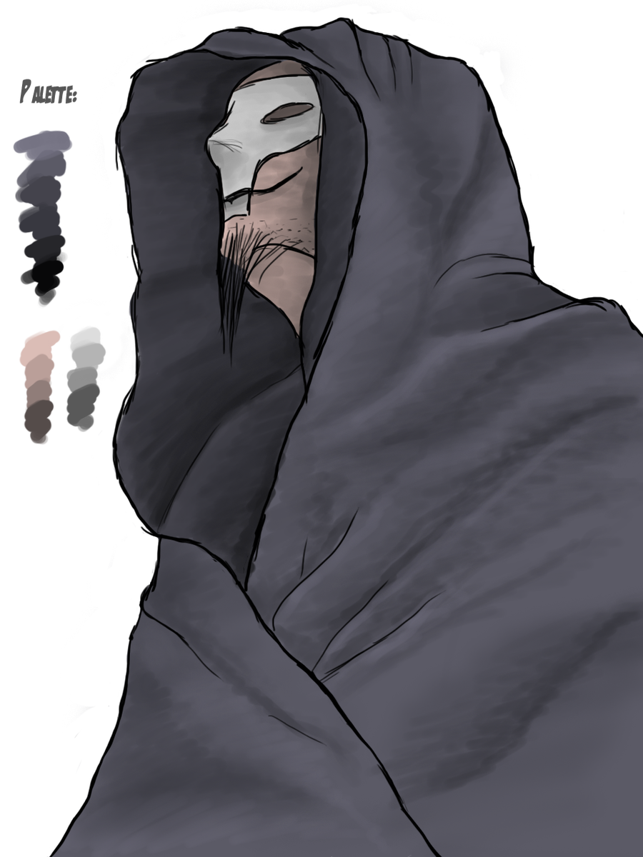 Hooded drawing detailed. Death monk by afterfield