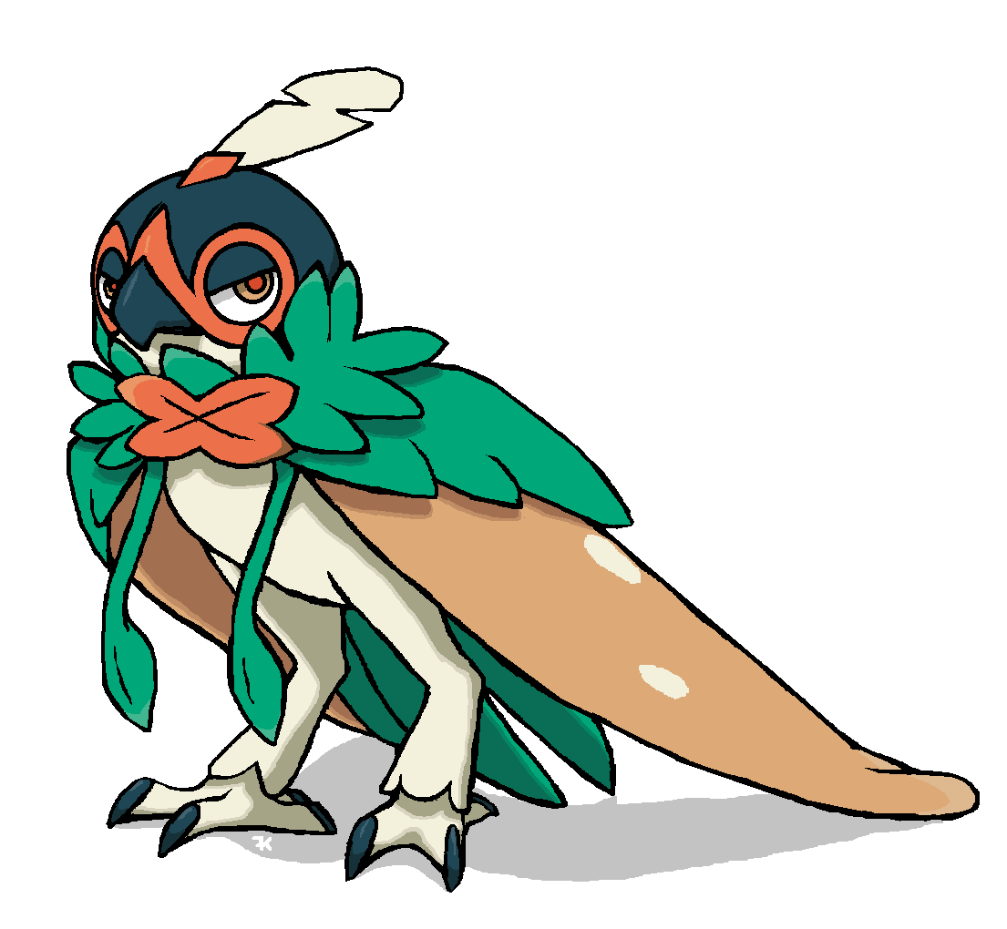 Hooded drawing concept art. I pondered what decidueye