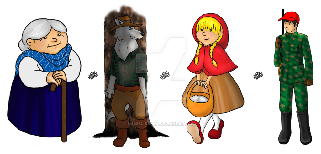 Hooded drawing little red riding hood. Quick character art by