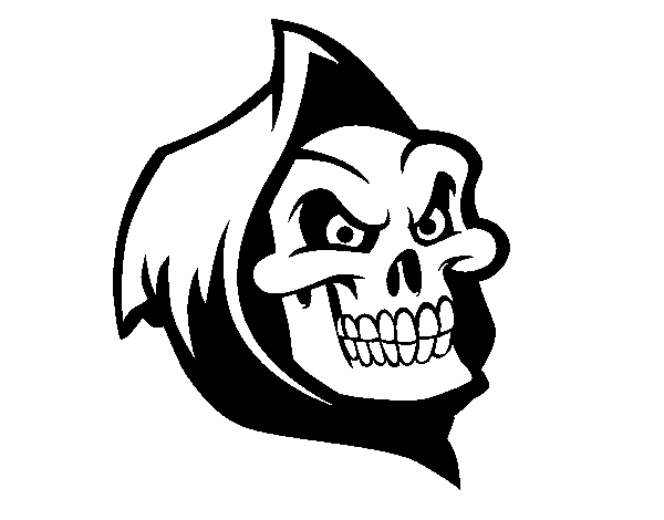 Hooded drawing. Death coloring page coloringcrew