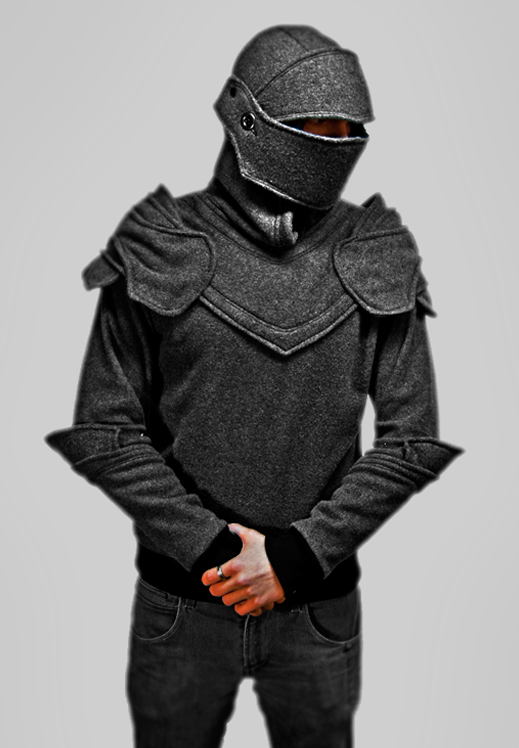 Hooded drawing knight. Grey armored hoodie by