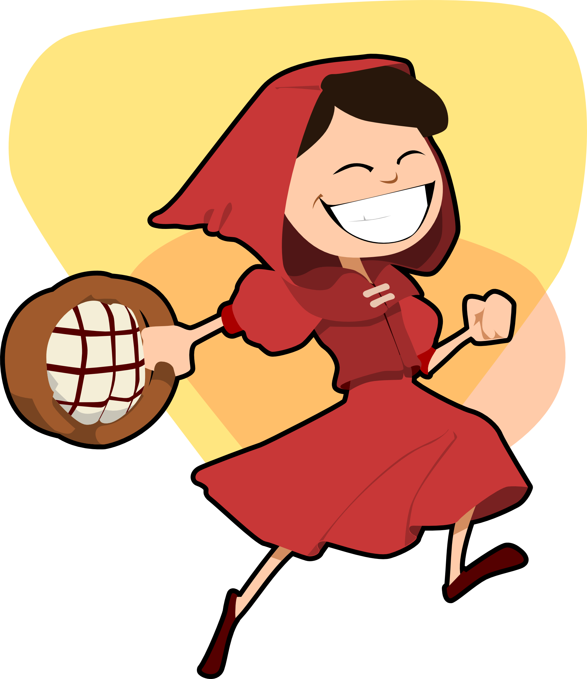 Hooded drawing little red riding hood. Diabetes fairytales self care