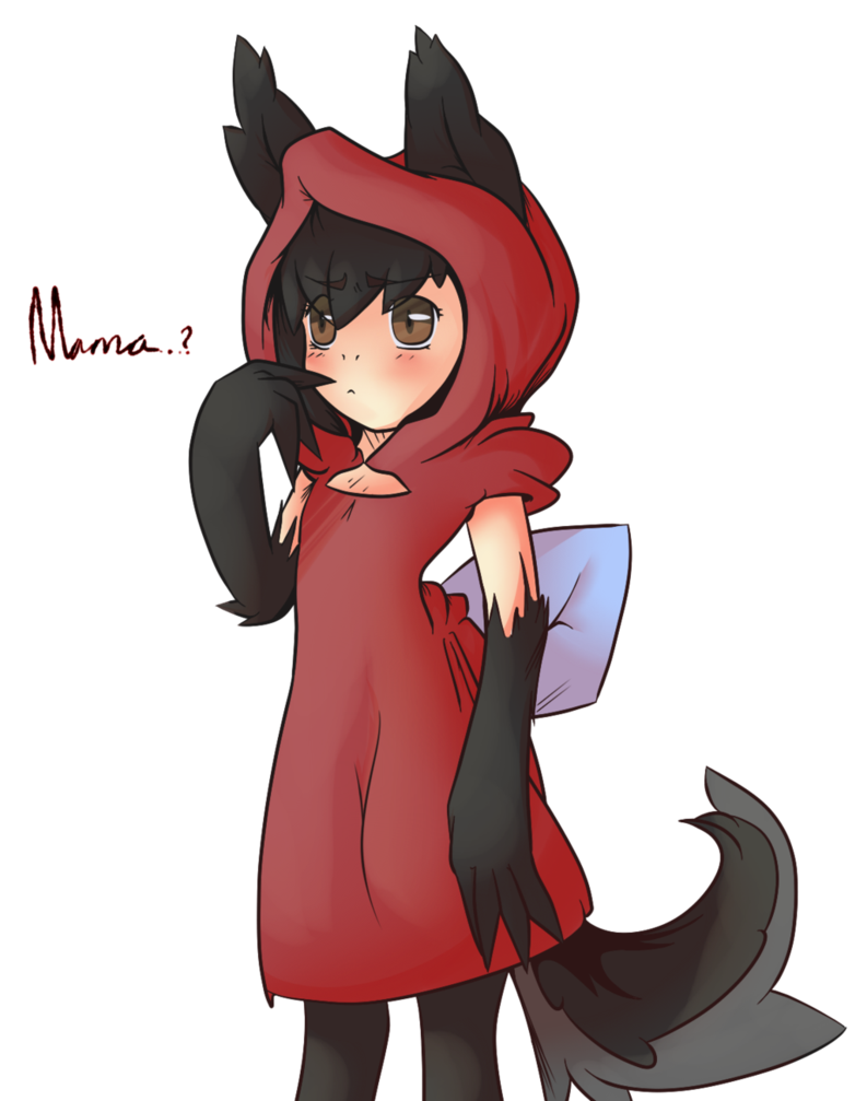 Hooded drawing little red riding hood. Wolf by lollypopa on