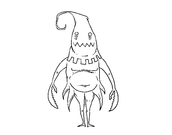 Hooded drawing monster. Coloring page coloringcrew com