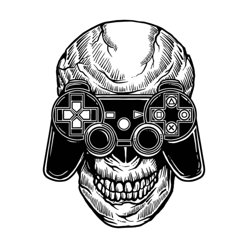 Hooded drawing skeleton. Playstation controller gothic t