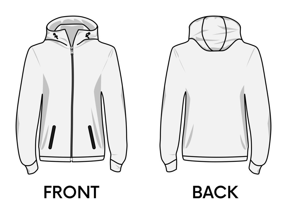 Hoodie clipart template front. T shirt jacket collar