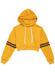 Hoodie transparent cropped. Off striped sleeve