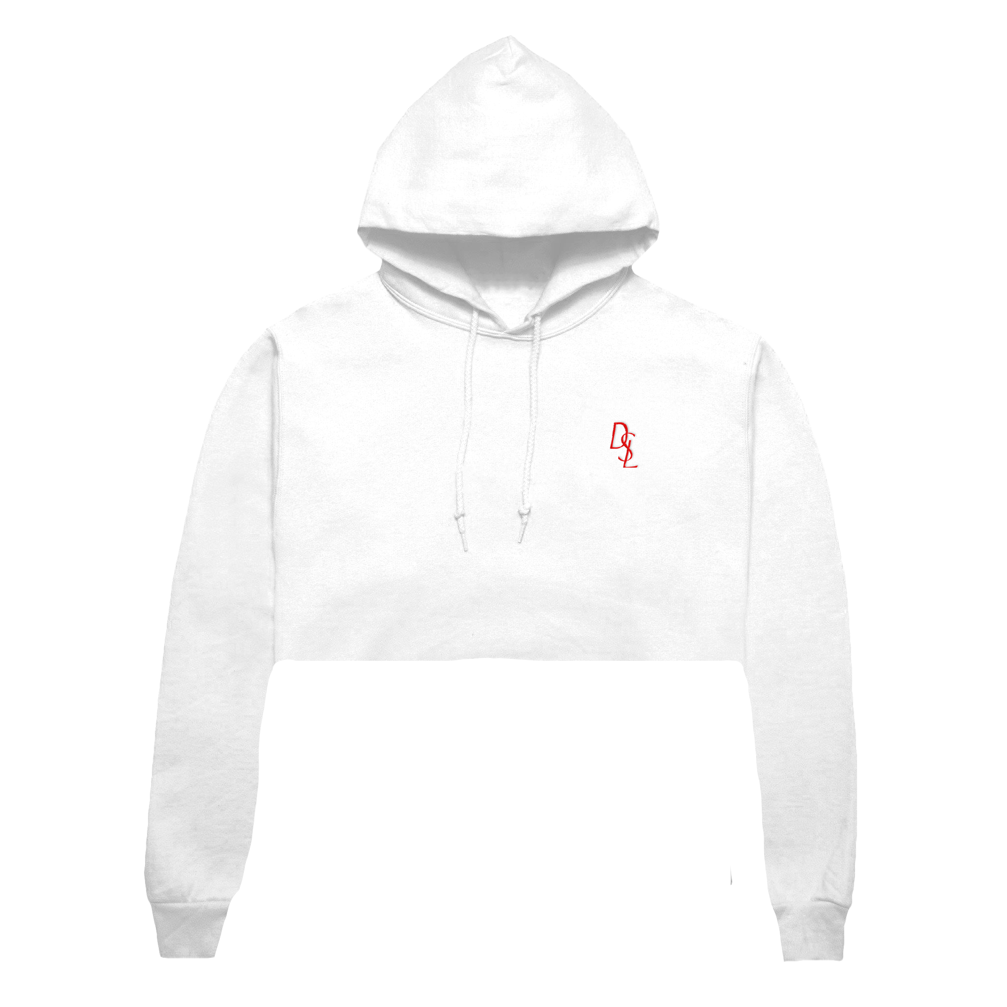 Hoodie transparent cropped. Dsl embroidered crop white