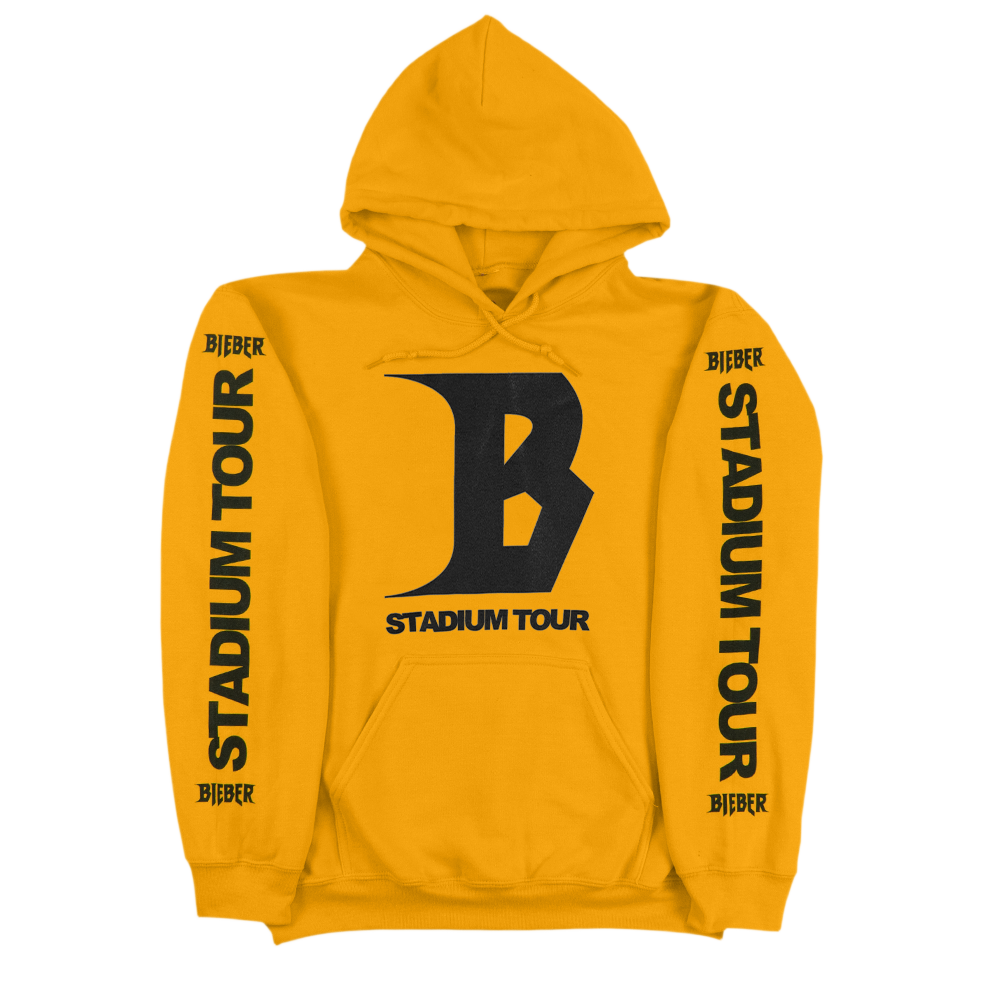 Hoodie transparent yellow. Stadium tour purpose merchandise