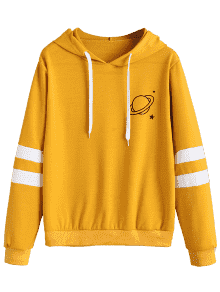 Hoodie transparent yellow. Contrast stripes panel