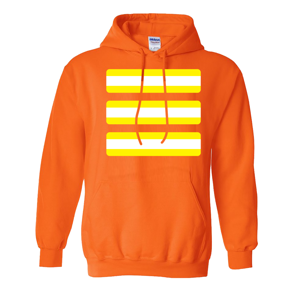 Hoodie transparent yellow. Safety stripes white middle