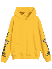 Hoodie transparent yellow. Floral patched front
