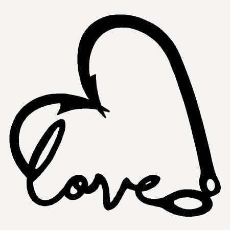 Hook clipart heart. Hunting decal love country
