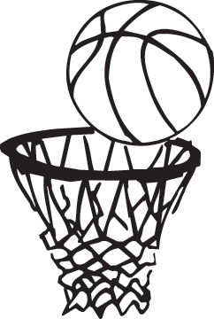 Hoop clipart large. Basketball going in png