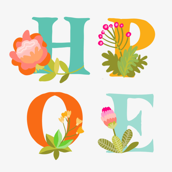Hope clipart artistic. Word flowers color english