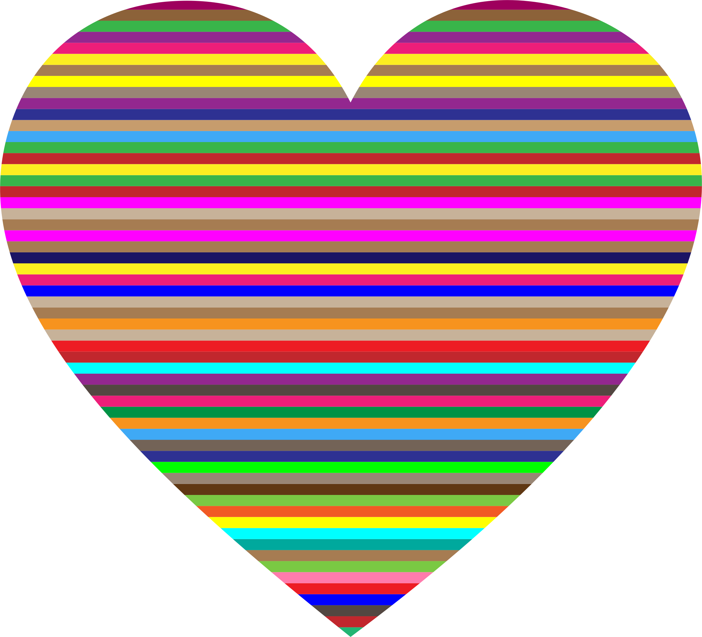 Colorful striped heart big. Horizontal clipart library
