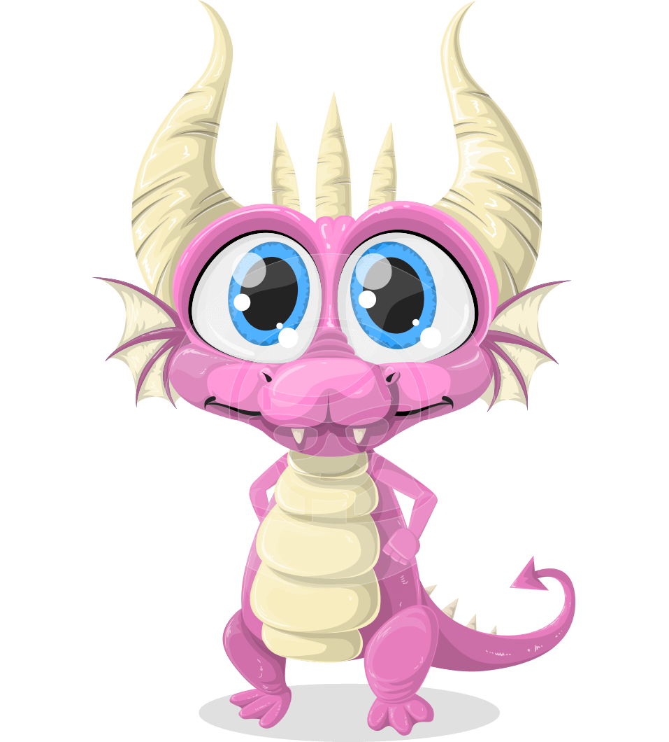 Horns vector dragon. Little draco a cute