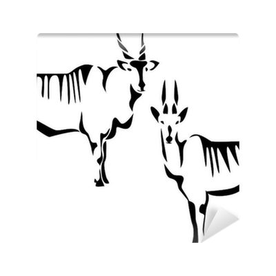 Horns vector eland. Stylized antelope wall mural