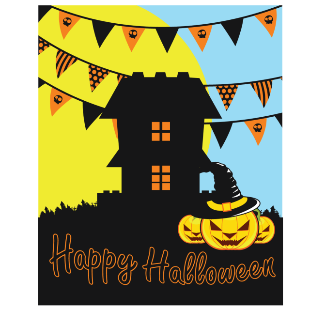 Horror vector halloween. Party background illustration moon