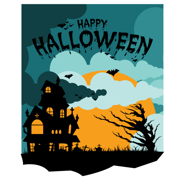 Cemetery vector cute. Halloween party background illustration