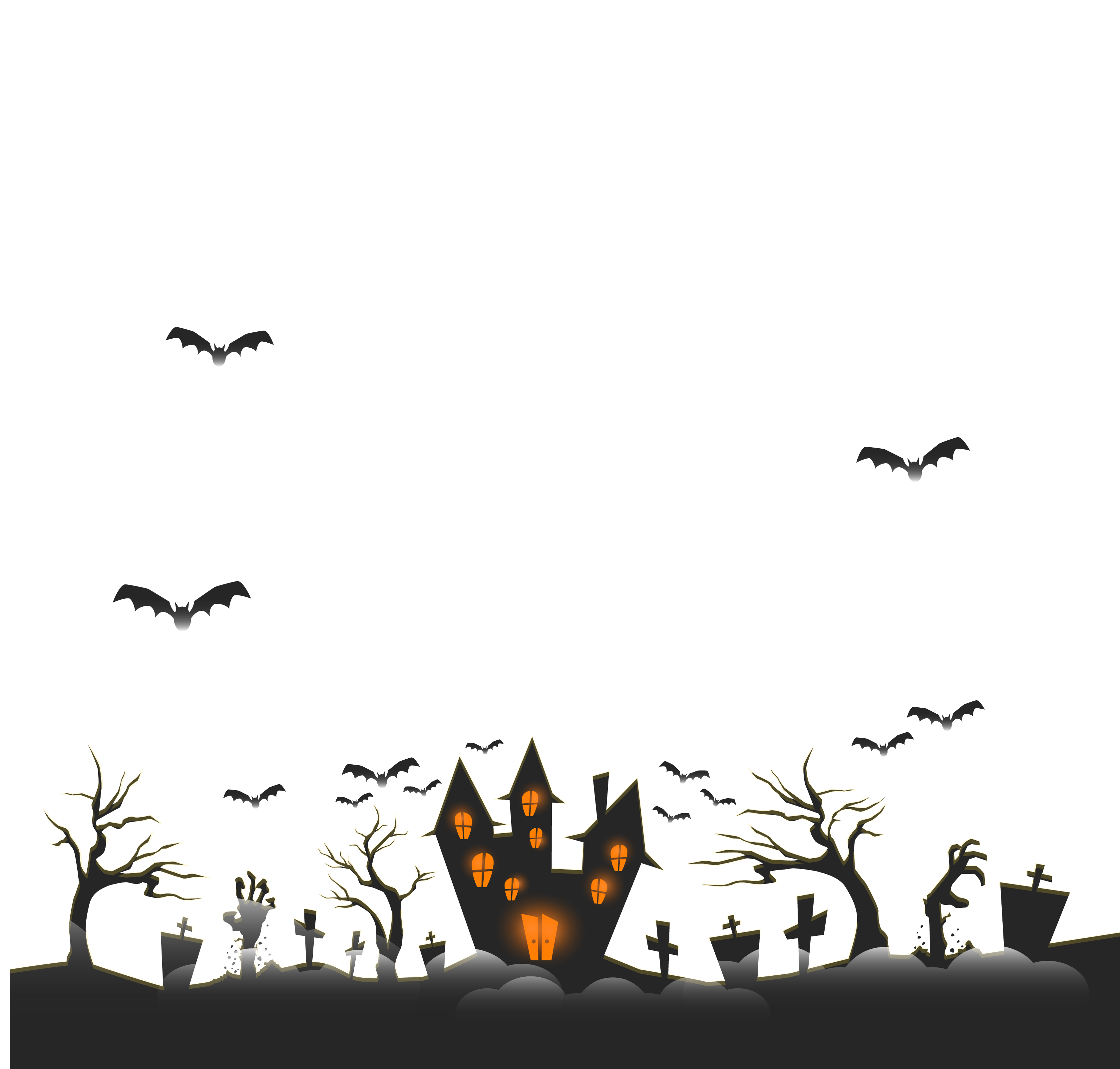 Horror vector background. Halloween ghost castle transprent