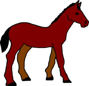 Horse clip. Red brown art at