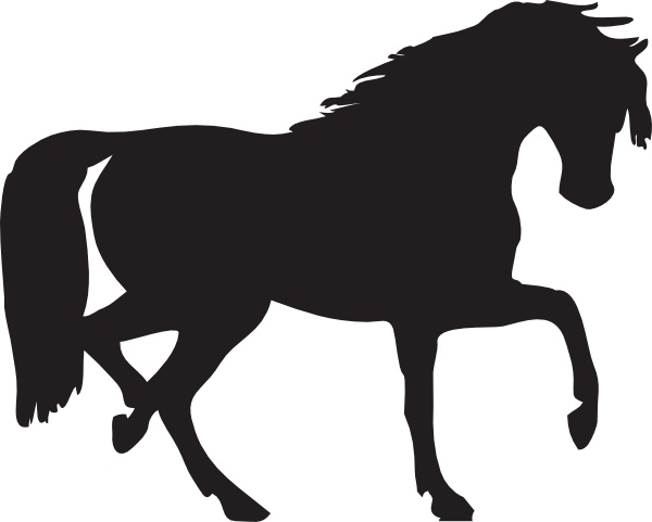 Horse clip art. Silhouette free vector in