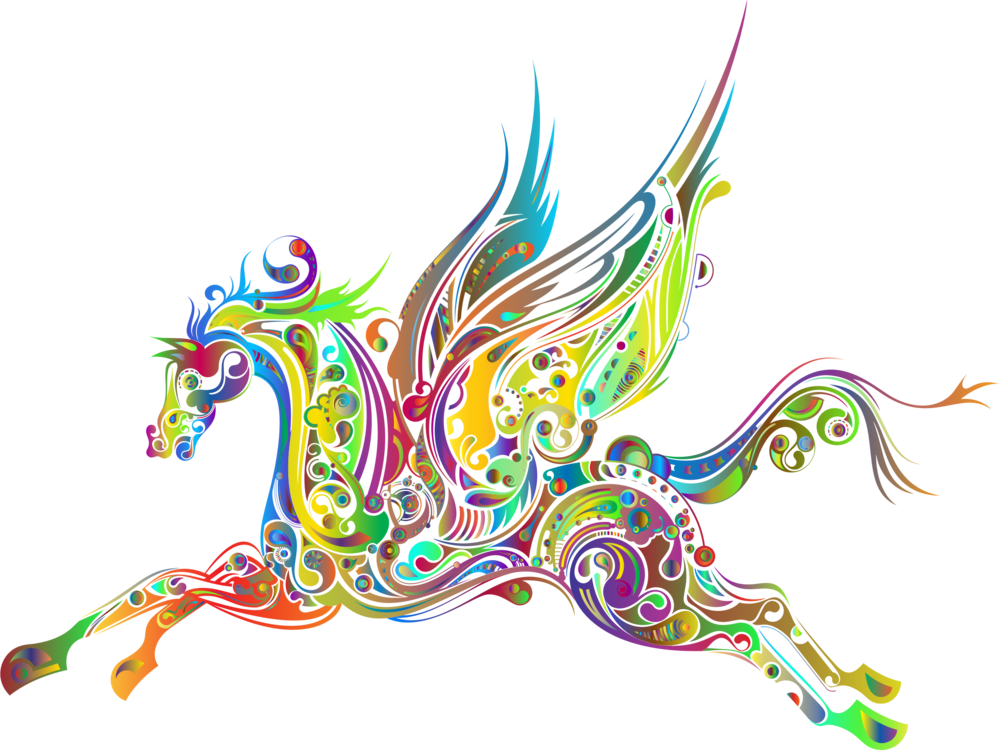 Horse clip art abstract. Flying horses pegasus drawing