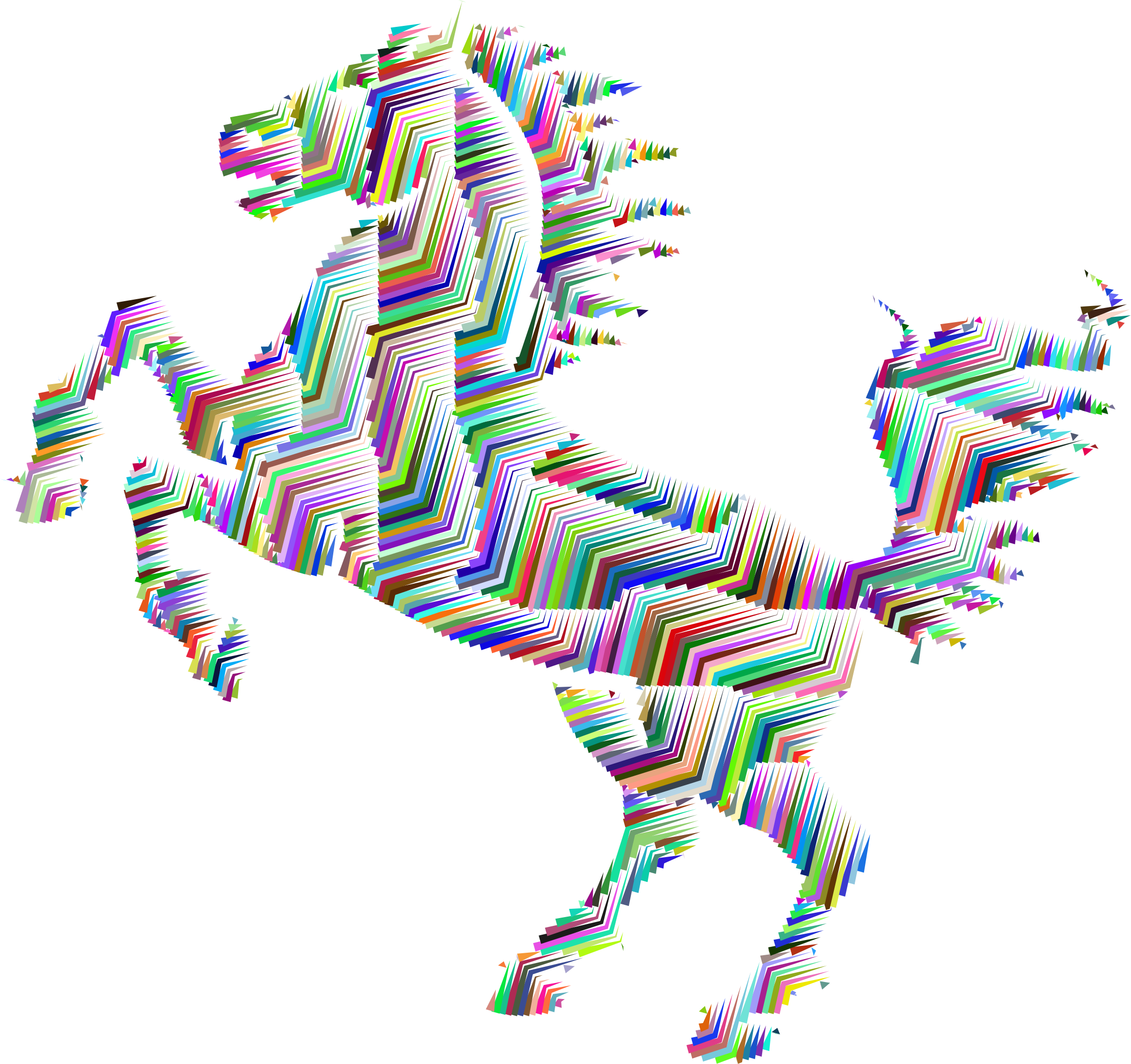 Horse clip art abstract. Clipart prismatic silhouette line