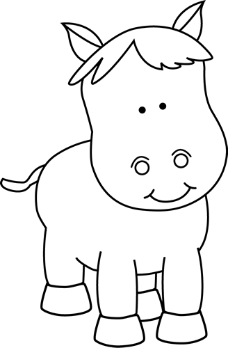 Horse clip art black and white. Pony image