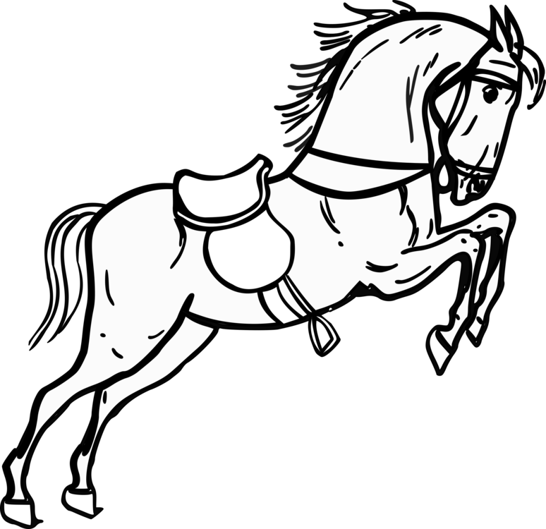 Horse clip art black and white. Drawing cartoon line free