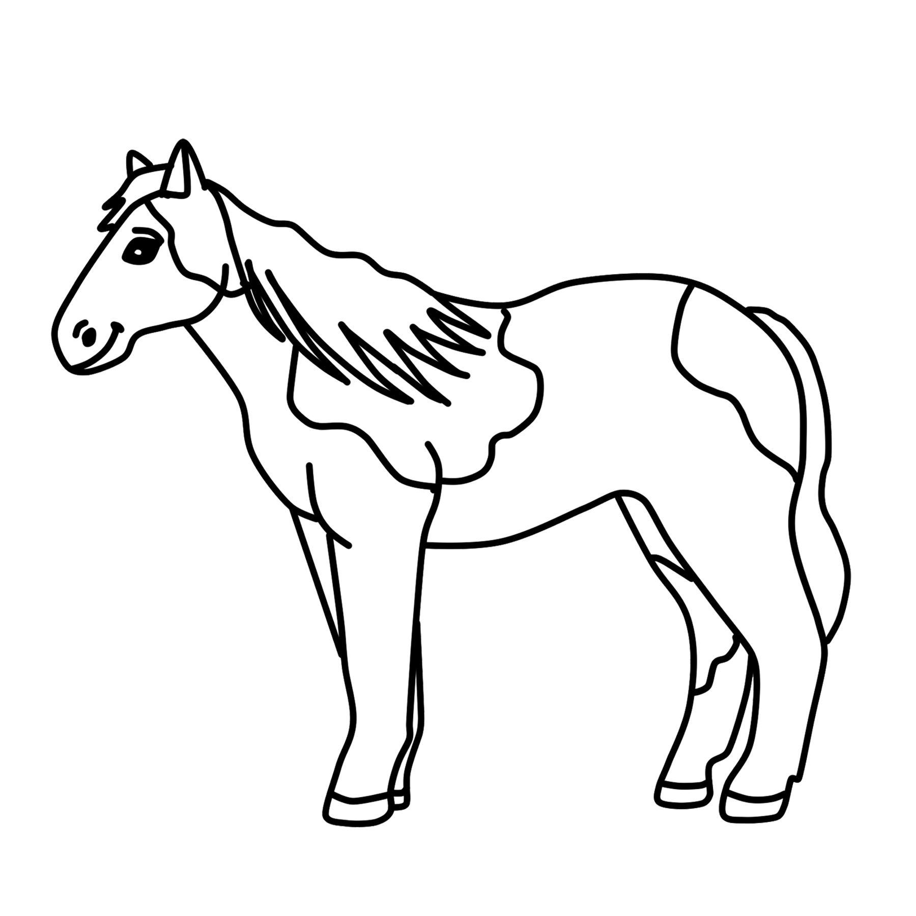 Horse clip art black and white. Spotted clipart pony graphic
