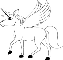 Horse clip art black and white. Free fantasy outline clipart
