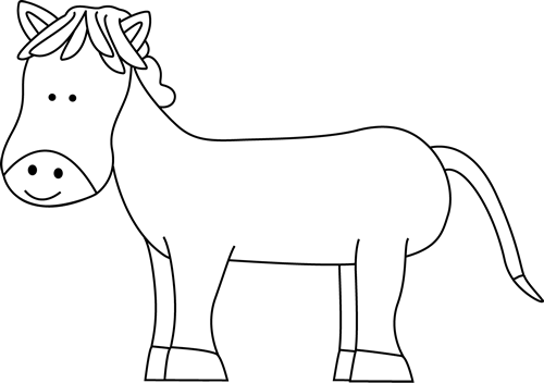 Horse clip art black and white. Cute pony image outline