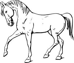 Horse clip art black and white. Walking outline at clker