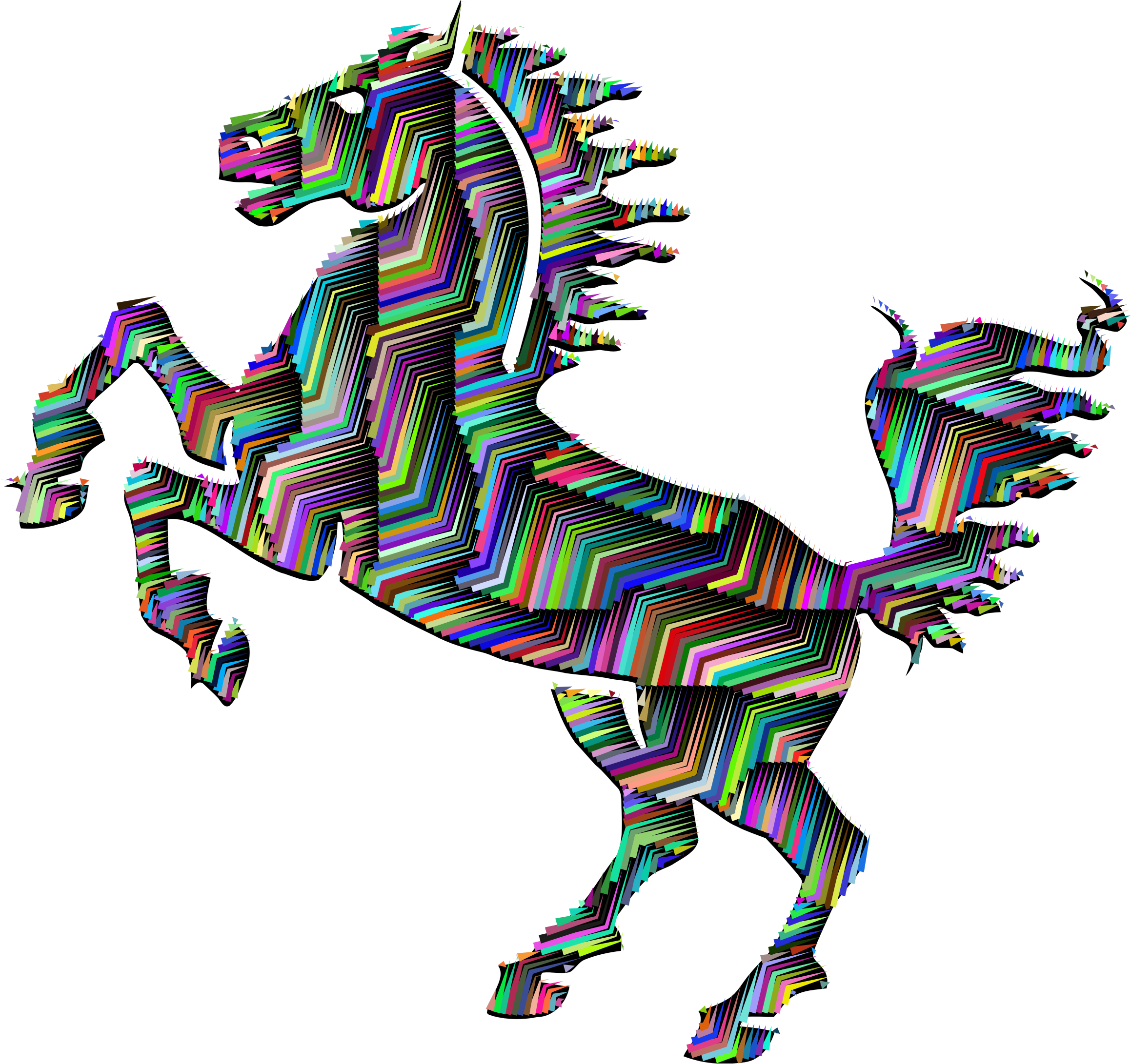 Horse clip art clear background. Prismatic silhouette abstract line