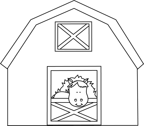 Farmhouse clipart barn door. Black and white horse