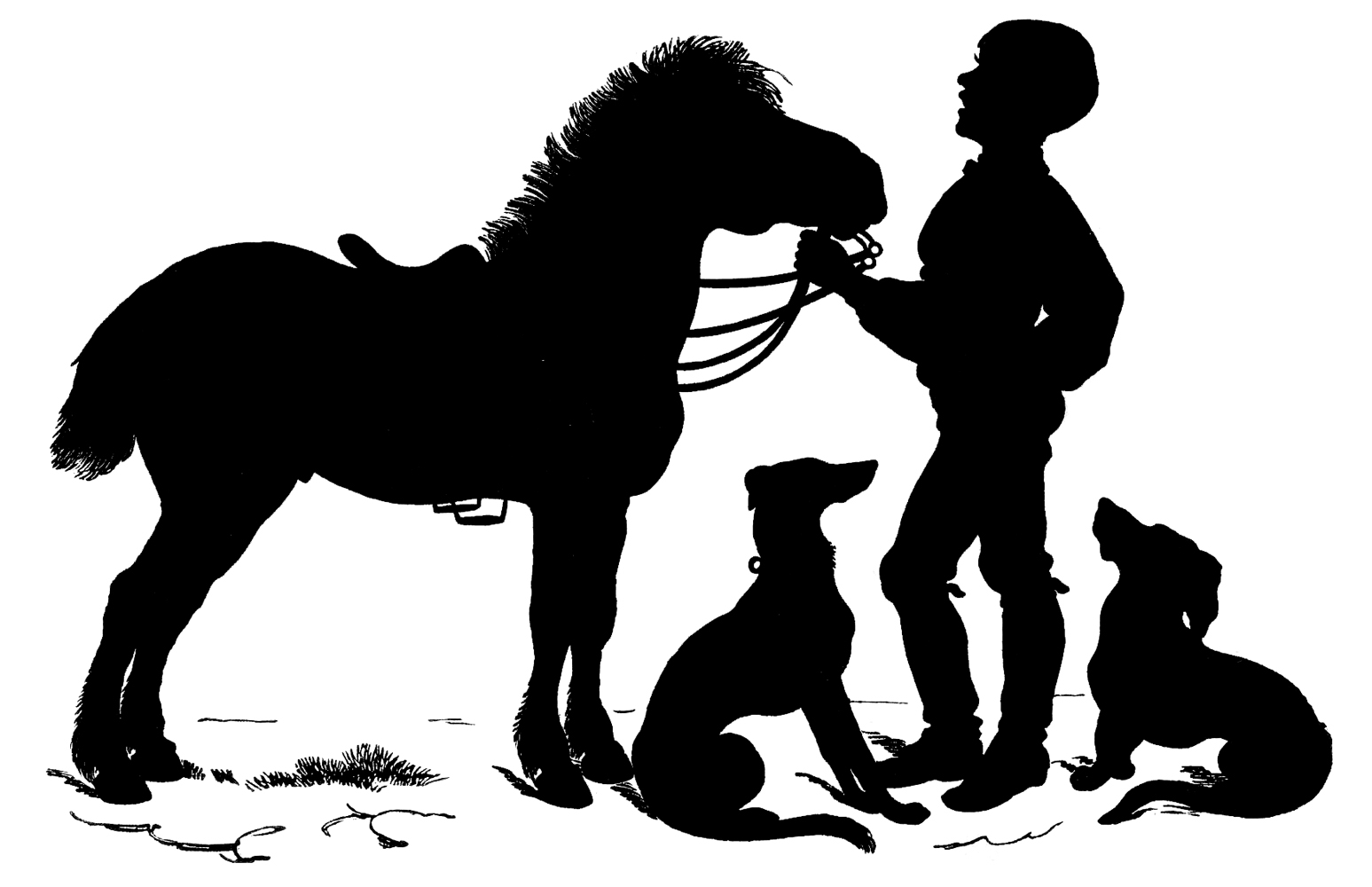 Horse clip art horse barn. Vintage sweet silhouette boy