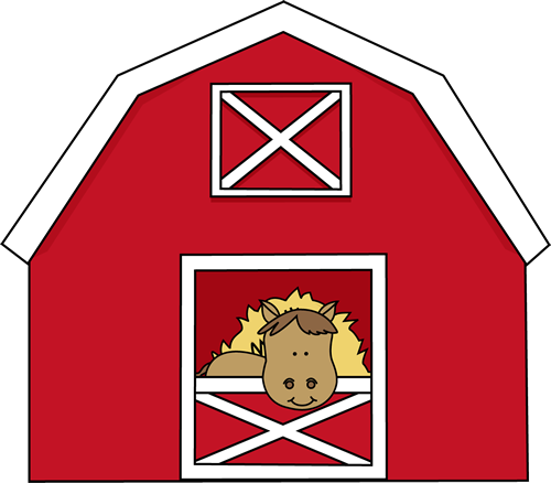 Barn clipart open door. Horse in a clip