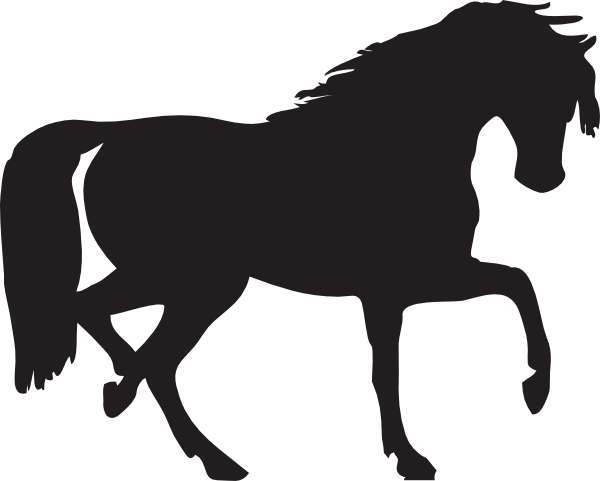 vector cowboy horse black and white